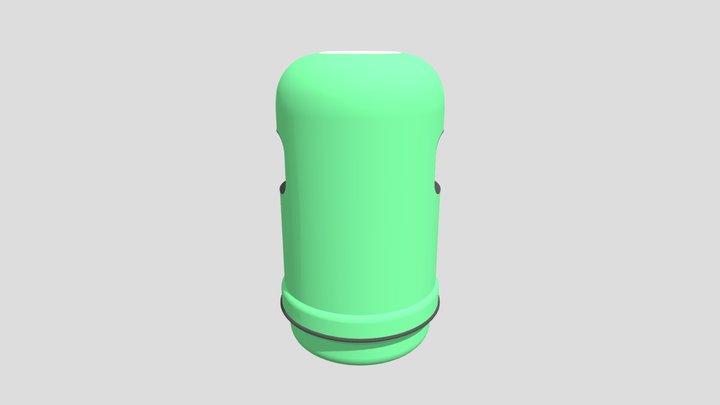Hong Kong Green Rubbish Bin 3D Model
