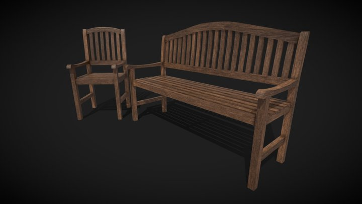 Bench and chair 3D Model