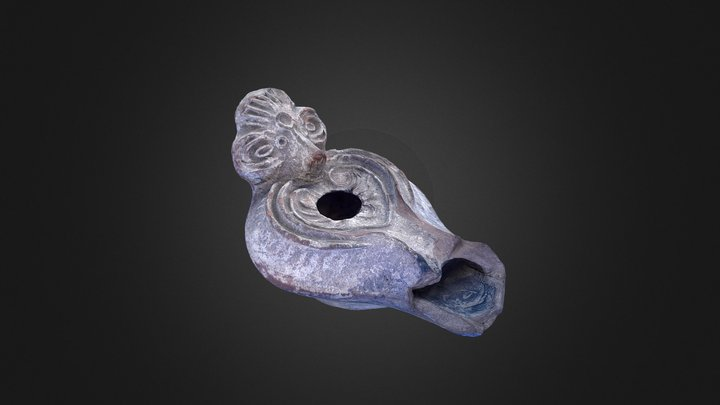 Opait roman, de lut, decorat cu un cap de berbec 3D Model
