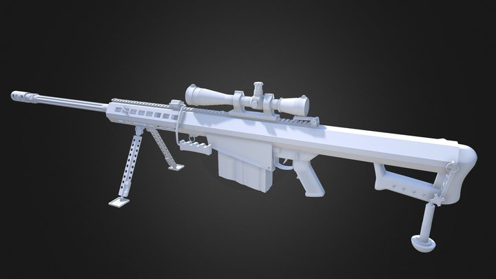 XM500 Mod Sniper Rifle High Poly 3D Model