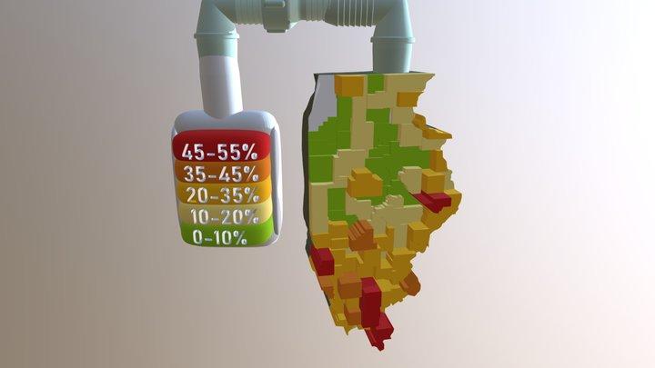 Percentage of farmland losing soil by county 3D Model