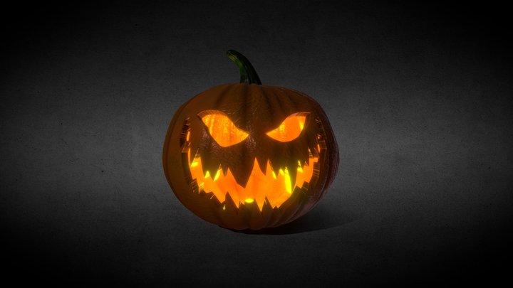 Halloween Jack-o-Lantern Orange Fire High Poly 3D Model