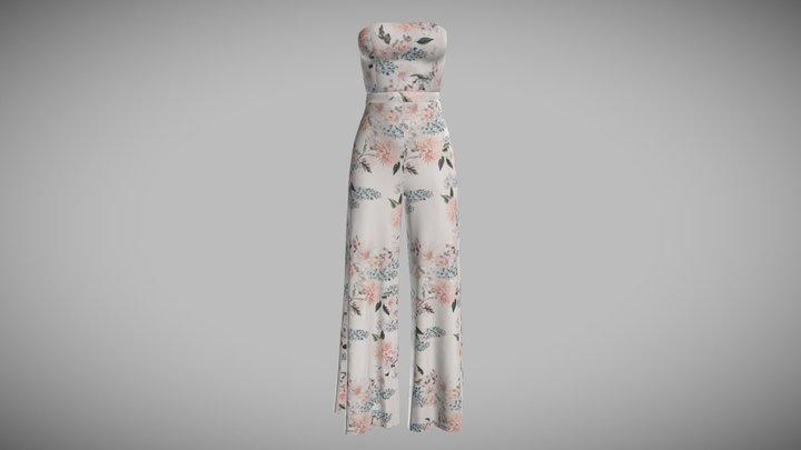Column White Dress 3D Model