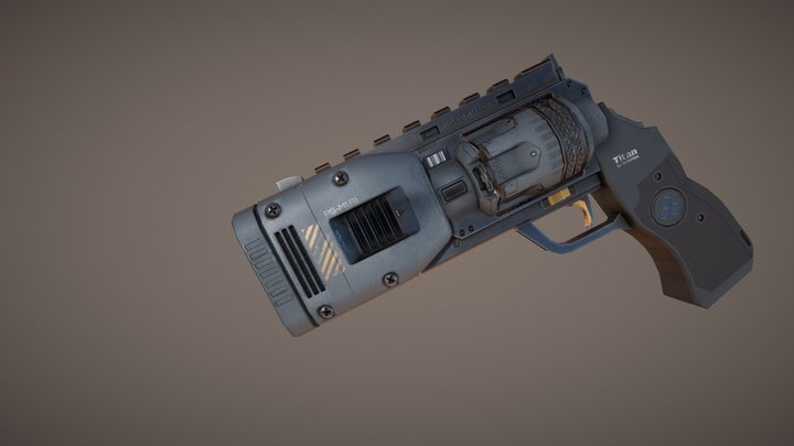 Plasma Revolver - Animated 3D Model