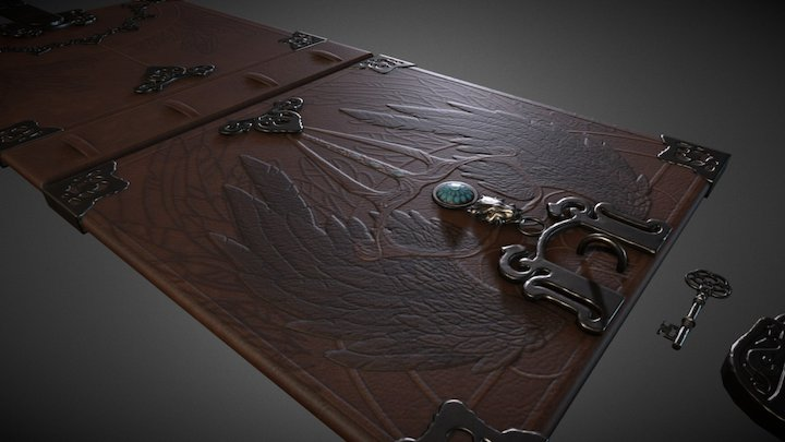 Fantasy Book Cover 3D Model