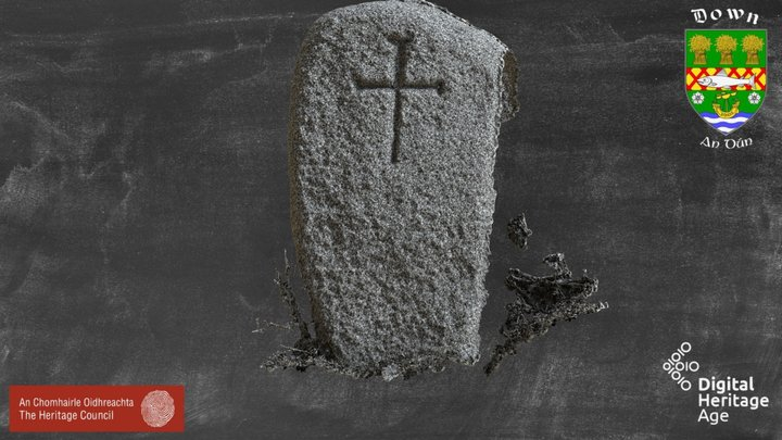 DOW047:042 Cross Inscribed Stone - 7 3D Model