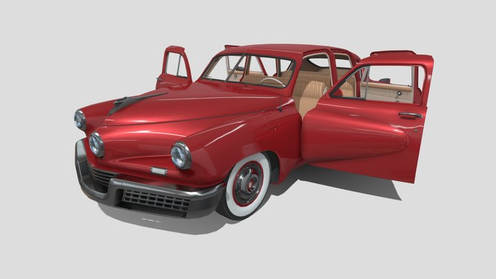 Tucker 48 Red with Interior 3D Model