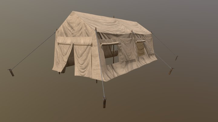 Low Poly Military Tent 03 3D Model