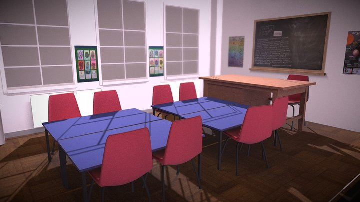 Low Poly - Classroom - Room to Breathe 3D Model