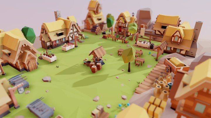 """Fantasy Village """"Market"""" 3D Model"""