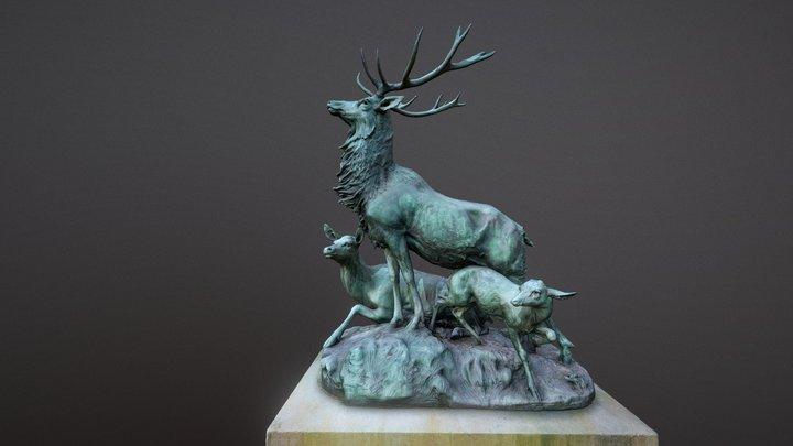 Harde de cerfs écoutant le rapproché (Paris) 3D Model