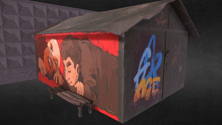 Soviet garage with graffiti 3D Model
