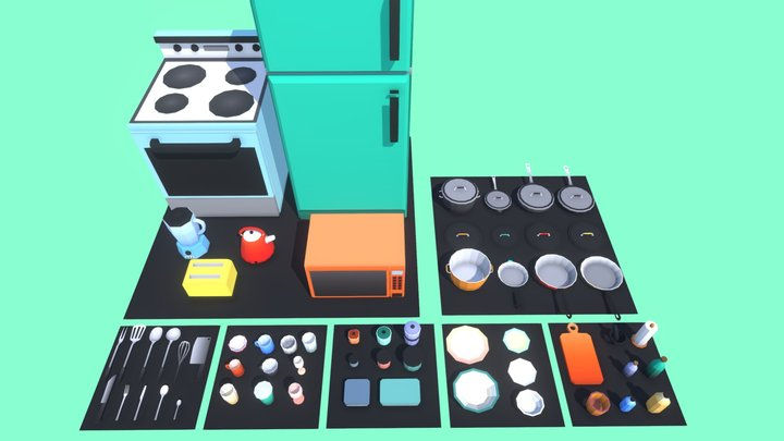 Kitchen Asset Pack - Game Ready - Low Poly 3D Model