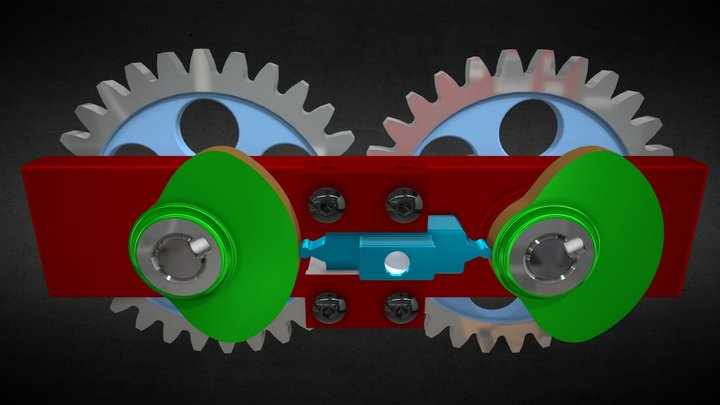 Double Dwell Reciprocating Cams Mechanism 3D Model