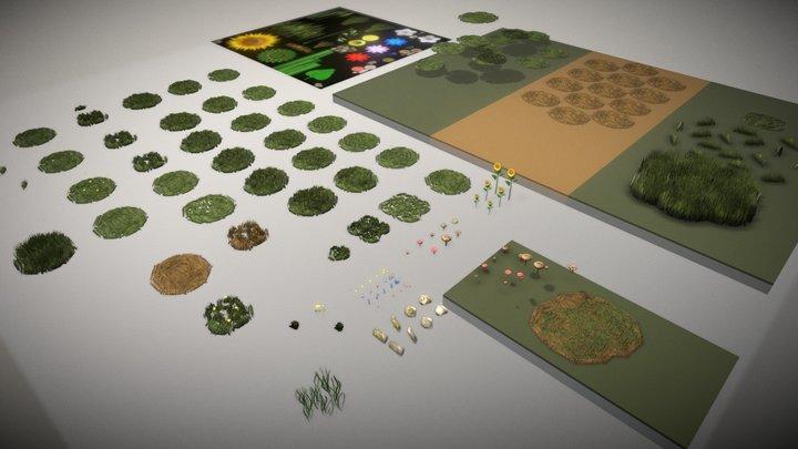 Gras, Blumen, Steine und Pilze - Demo 3D Model