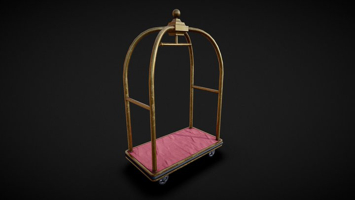Gold Hotel Luggage Trolley (Fallout: Miami) 3D Model
