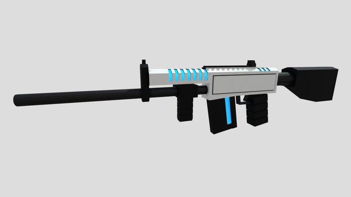 Low Poly Futuristic Assault Rifle 3D Model
