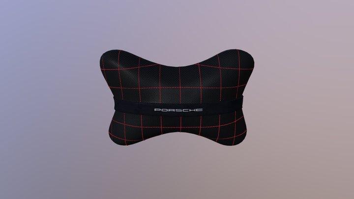 Авто-подушка черная кожа с перфорацией + porsche 3D Model