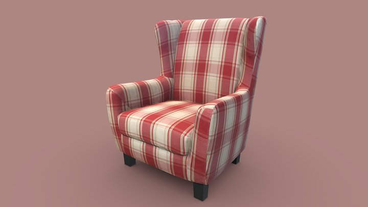 Comfy Red-White Armchair 3D Model