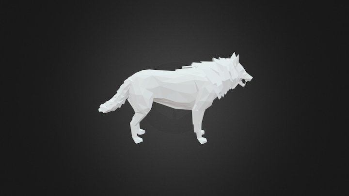 Low-poly wolf 3D Model