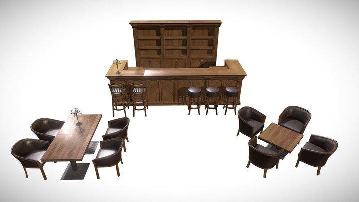 Restaurant furniture scene PBR materials 3D Model