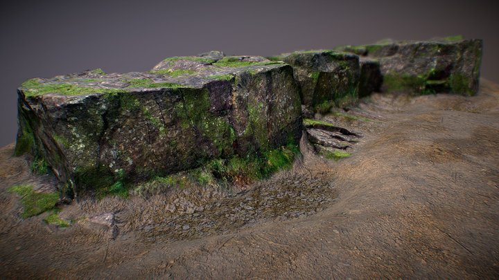 Woodland Rocks with Moss 3D Model