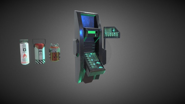 Free Props for a sci fi Environment 3D Model