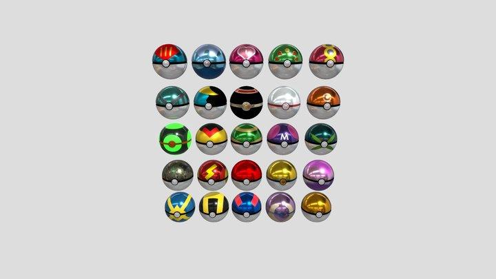 All pokeballs 3D Model
