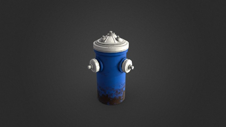 Blue Fire Hydrant 3D Model