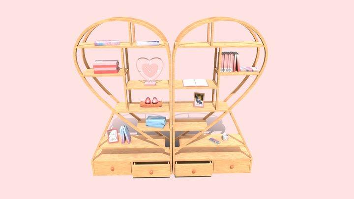 Hearth shaped shelf / bookshelf (LP) 3D Model