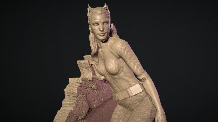 Catwoman Statue Wall 3D Model