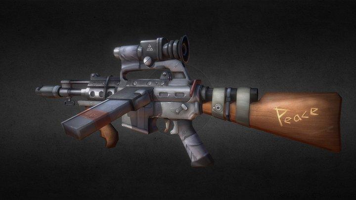 [Handpainted-texture]Makeshift Assault Rifle 3D Model