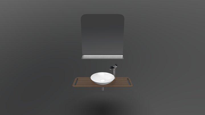 Foglia Curve Ayna Canak Lavabo -Moka Oak 3D Model