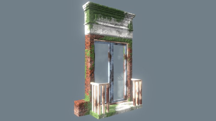 Mid-poly Ruined Door 3D Model