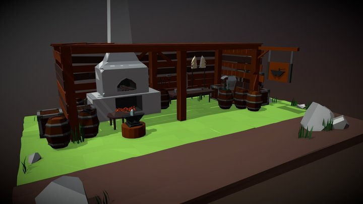 blacksmith Lowpoly 3D Model