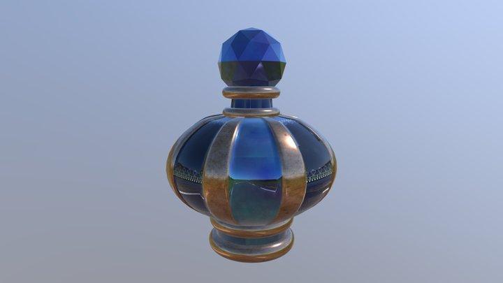 Golden Blue Glassy Potion Bottle 3D Model