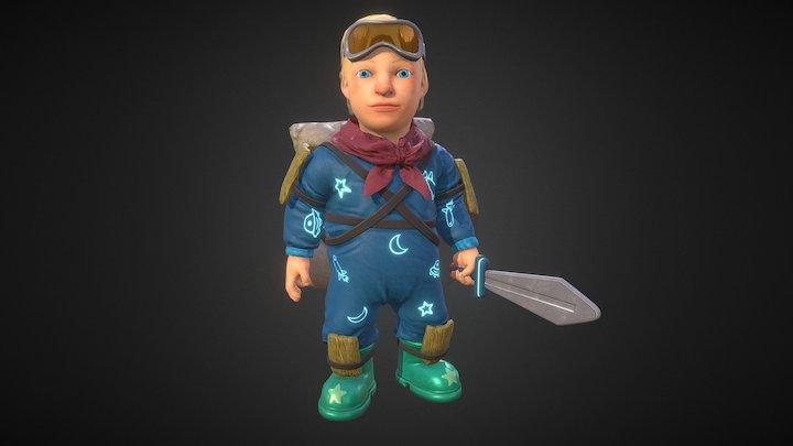 Space Kid: Idle (breathing) 3D Model