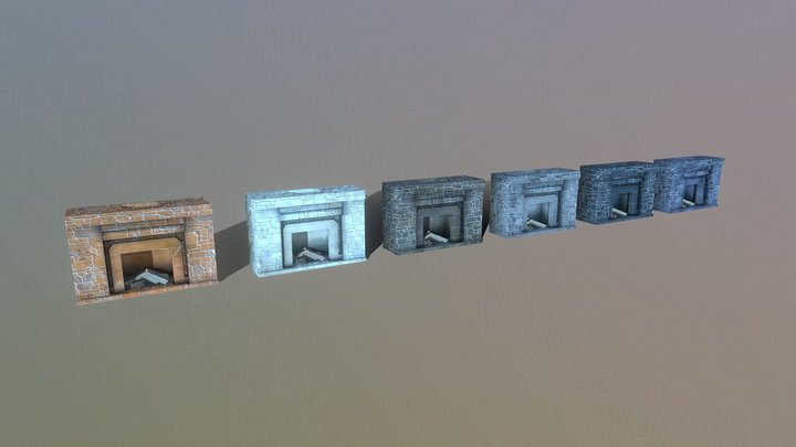 Mortared Stone Fireplace - Version 2 3D Model