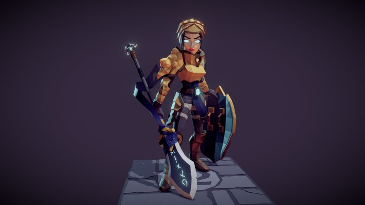 Female Warrior - Heavy Armor 3D Model