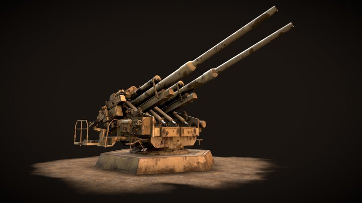 12.8cm Flak-Zwilling 40 3D Model