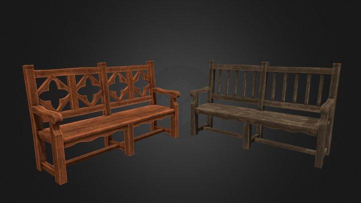 Antique Wooden Benches 3D Model