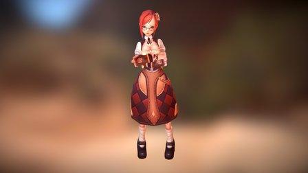 Villager Girl 3D Model