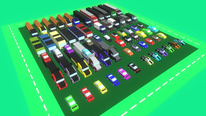 60 Vehicles - Mega Pack - Lowpoly cars & trucks 3D Model