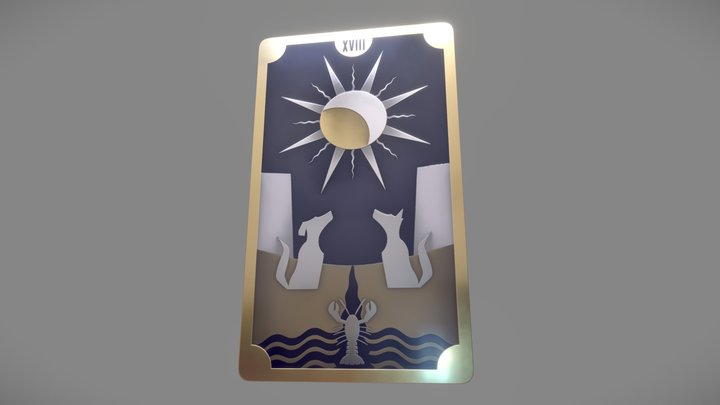 Moon Tarot Card (Substance Designer) 3D Model