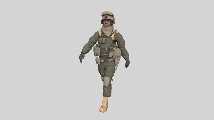 Low poly Army Man 2 Animated 3D Model