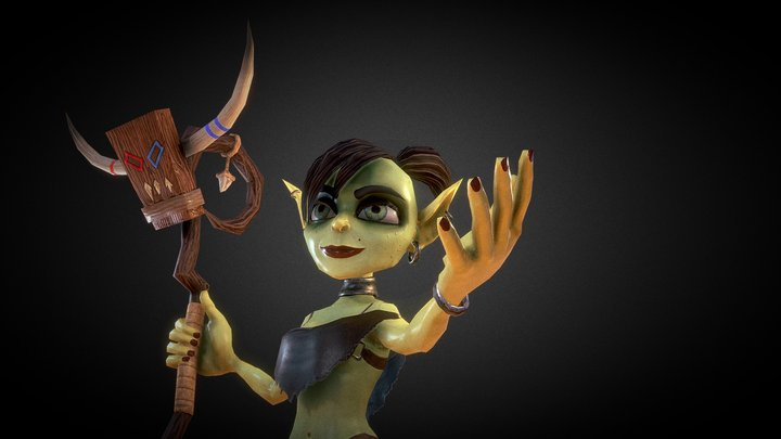 Goblin Witch Low Poly Model Animated 3D Model