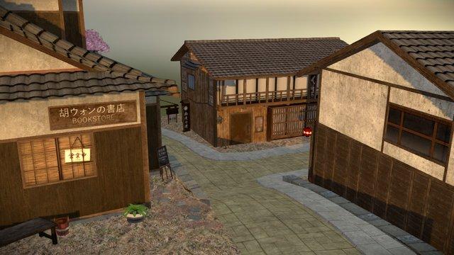 Japanese City Scene 3D Model
