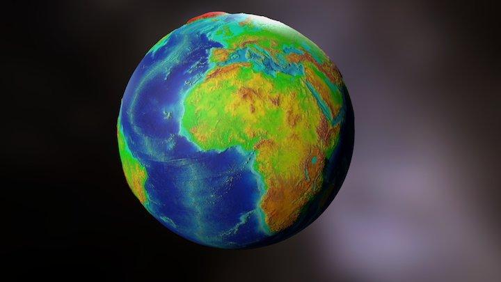 Mapa Topografico De La Tierra 3D Model