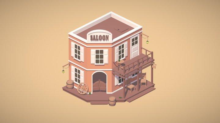Low-poly saloon 3D Model