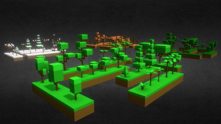 Blocky Trees Pack 3D Model